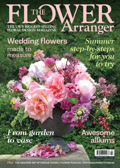 The Flower Arranger magazine front cover. Click on the photo to view a larger PDF version.