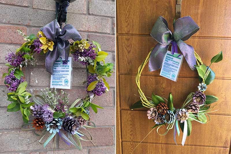 Two examples of basic door wreaths created by members of Ashton Hayes & Tarvin Flower Club