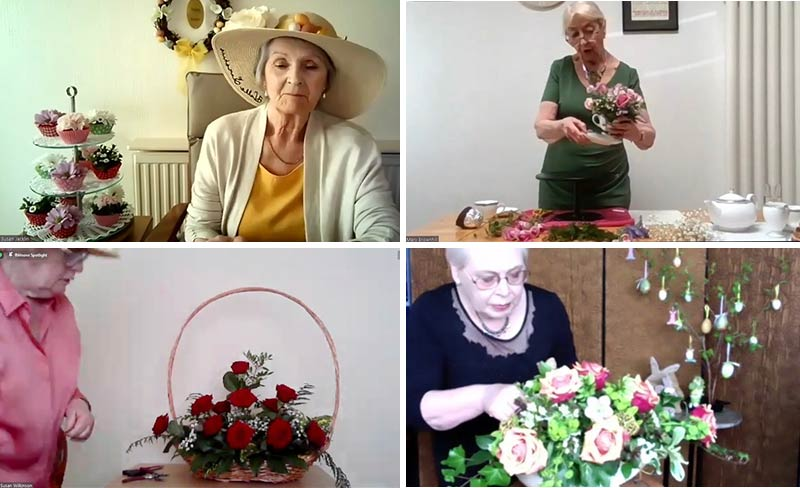 A montage of Stockport Afternoon Club's 'Easter Parade' flower arrangements