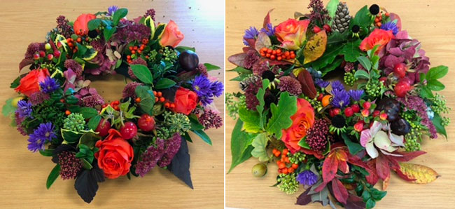 Two photos of Wistaston and District Flower Clubs autumnal wreaths