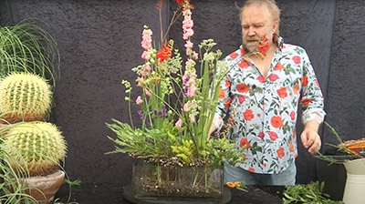 A still from a demonstration by Mark Entwistle - the Floral Enthusiast - Garden style arrangement